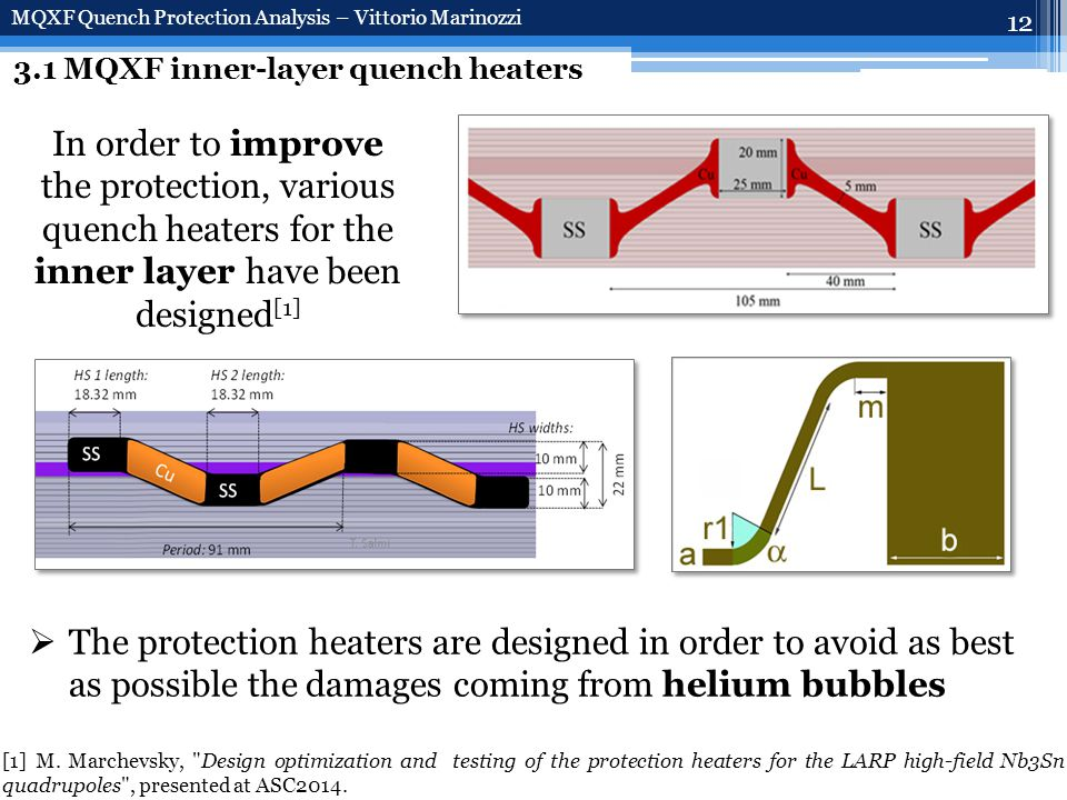 12 3.1 MQXF inner-layer quench heaters MQXF Quench Protection Analysis – Vittorio Marinozzi In order to improve the protection, various quench heaters for the inner layer have been designed [1]  The protection heaters are designed in order to avoid as best as possible the damages coming from helium bubbles [1] M.