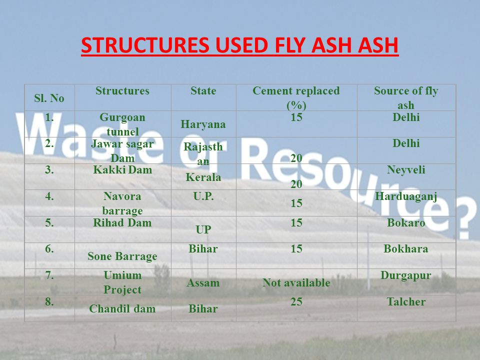 STRUCTURES USED FLY ASH ASH Sl.