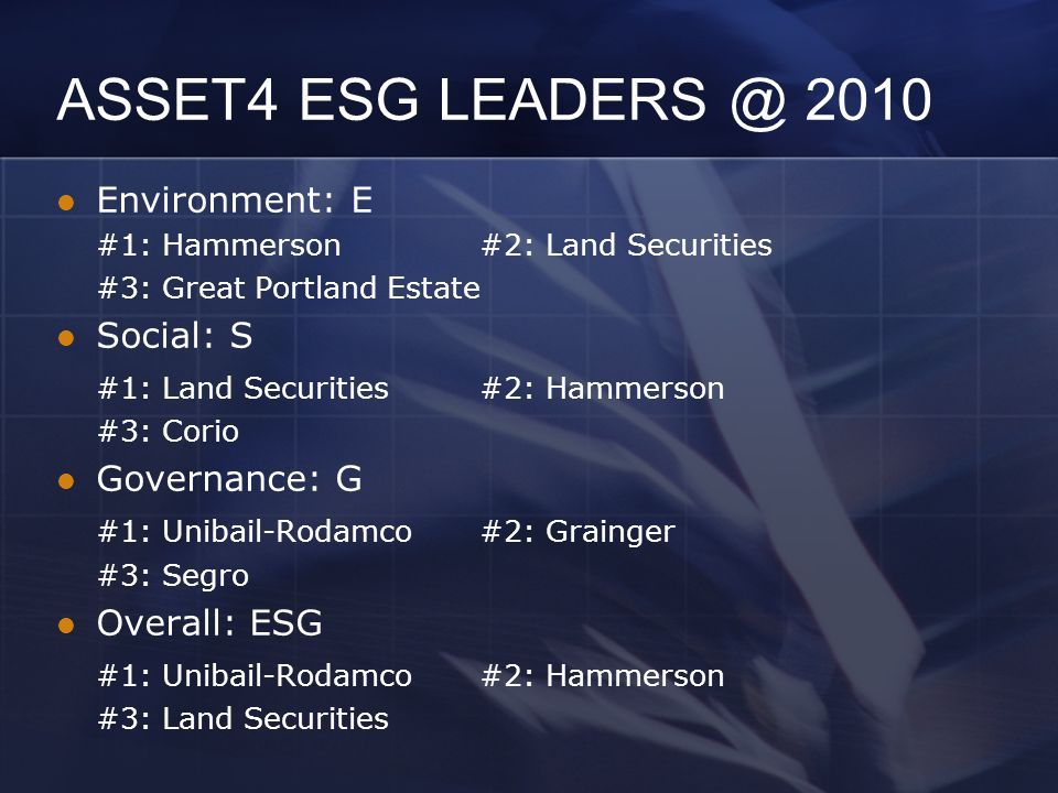 ASSET4 ESG LEADERS @ 2010 Environment: E #1: Hammerson#2: Land Securities #3: Great Portland Estate Social: S #1: Land Securities#2: Hammerson #3: Cor