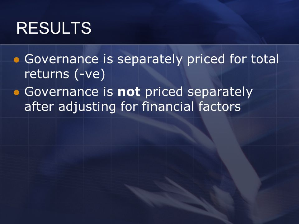 RESULTS Governance is separately priced for total returns (-ve) Governance is not priced separately after adjusting for financial factors