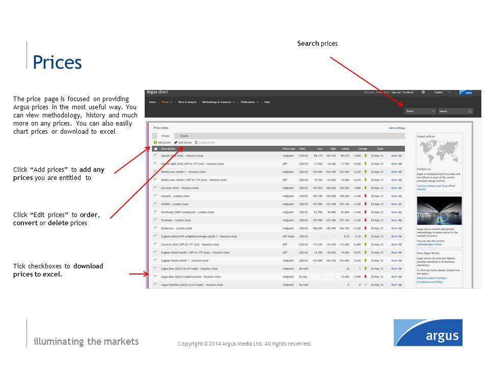 illuminating the markets Prices – edit mode Copyright © 2014 Argus Media Ltd.
