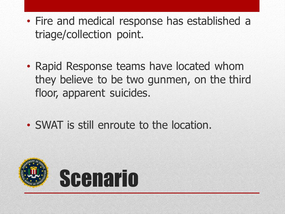 Fire and medical response has established a triage/collection point.