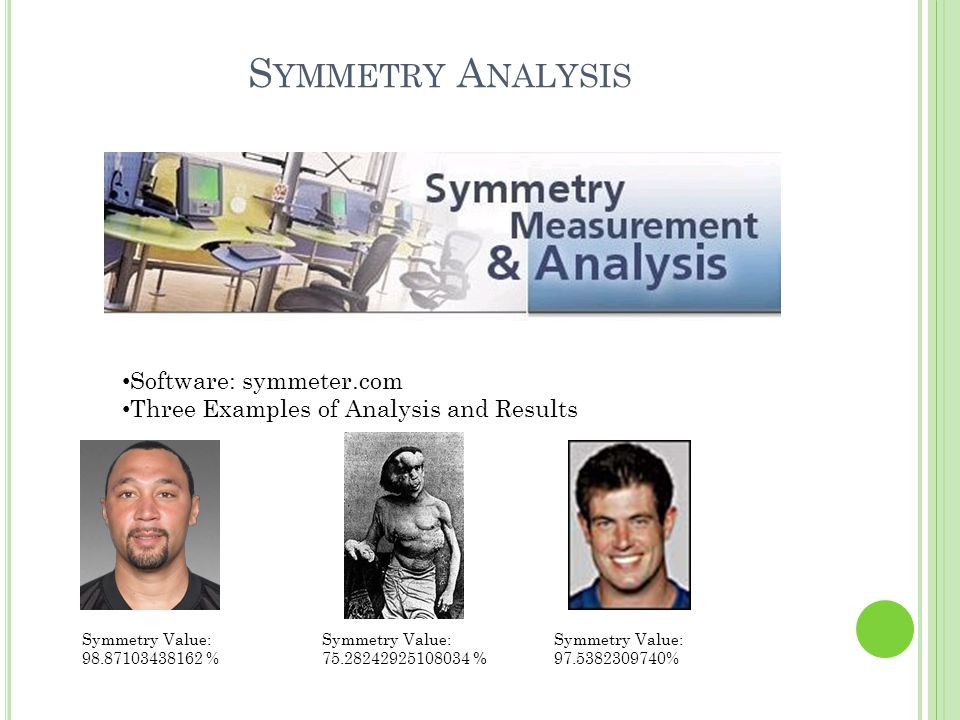 S YMMETRY A NALYSIS Software: symmeter.com Three Examples of Analysis and Results Symmetry Value: 98.87103438162 % Symmetry Value: 97.5382309740% Symmetry Value: 75.28242925108034 %