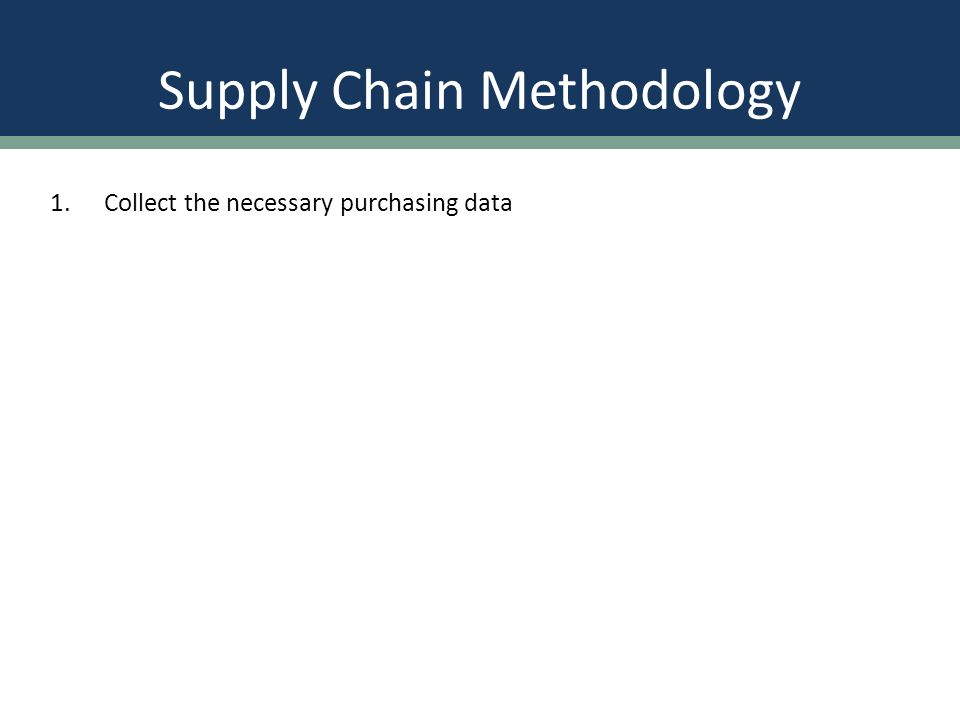 Supply Chain Methodology 1.Collect the necessary purchasing data