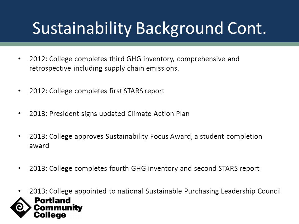 Sustainability Organization - Before Sustainability Leadership Team Buildings and Energy Transportation Consumption and Solid Waste Food and Agriculture Sustainability in Education Community Outreach Tracking Progress and Financing