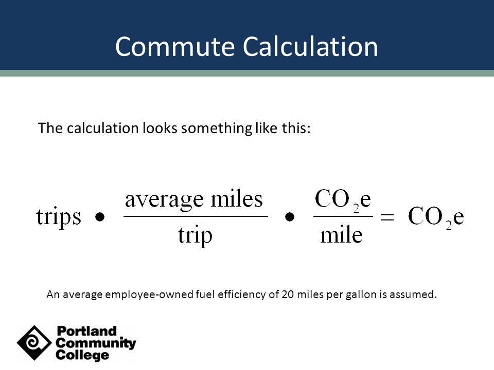 Commute Calculation The calculation looks something like this: An average employee-owned fuel efficiency of 20 miles per gallon is assumed.