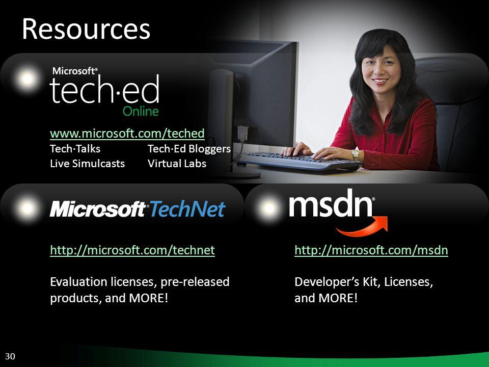 30 Resources www.microsoft.com/teched Tech·TalksTech·Ed Bloggers Live SimulcastsVirtual Labs http://microsoft.com/technet Evaluation licenses, pre-rel