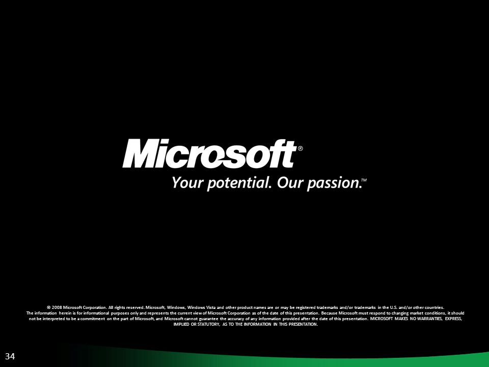 34 © 2008 Microsoft Corporation. All rights reserved.