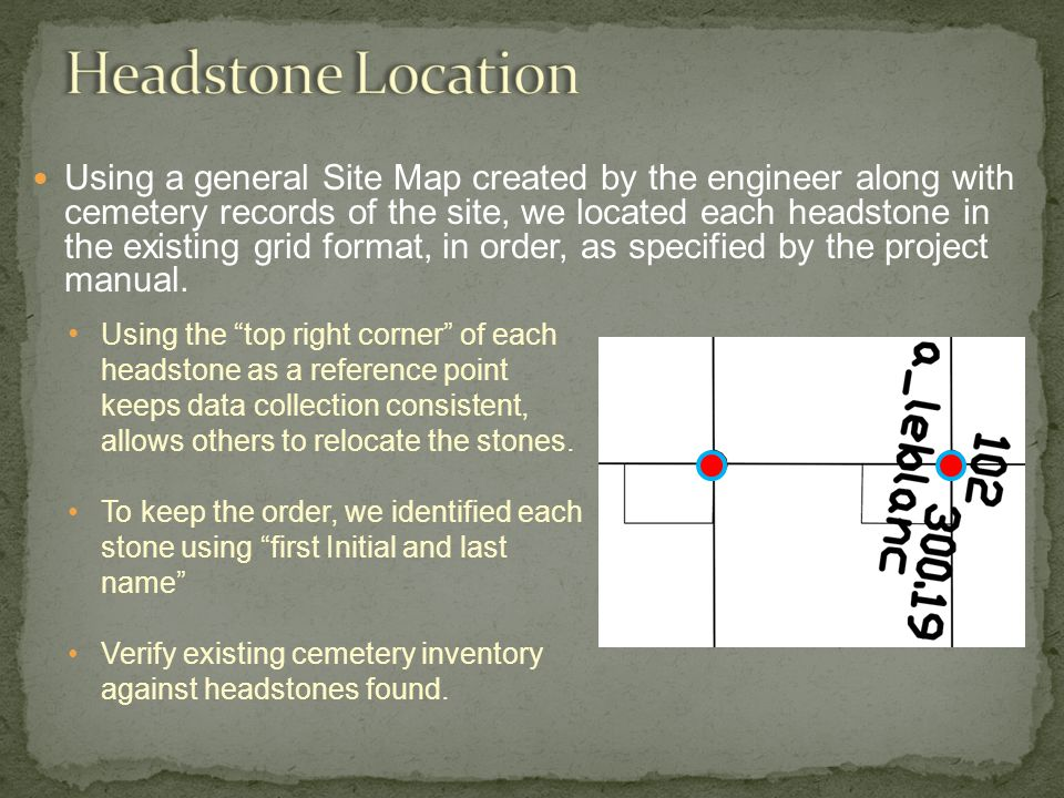 Using a general Site Map created by the engineer along with cemetery records of the site, we located each headstone in the existing grid format, in order, as specified by the project manual.