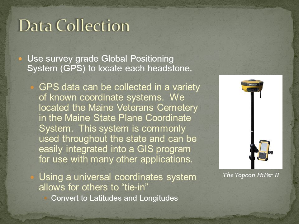 Use survey grade Global Positioning System (GPS) to locate each headstone.