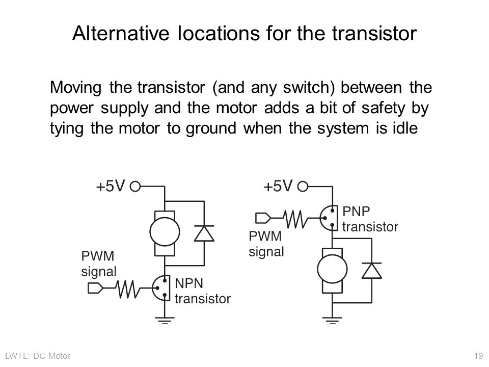 LWTL: DC Motor 19 Alternative locations for the transistor Moving the transistor (and any switch) between the power supply and the motor adds a bit of safety by tying the motor to ground when the system is idle