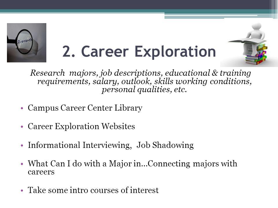 2. Career Exploration Research majors, job descriptions, educational & training requirements, salary, outlook, skills working conditions, personal qua