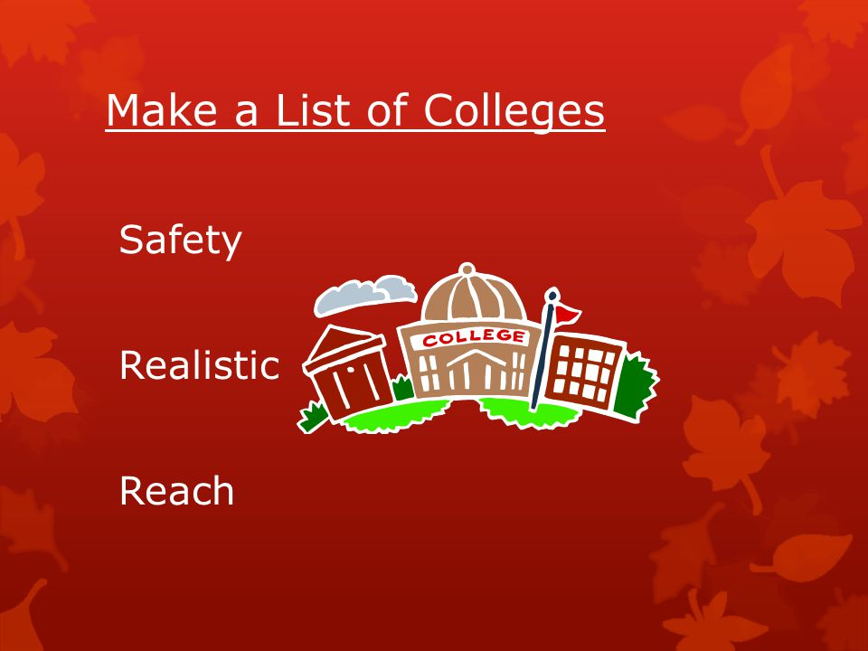 Make a List of Colleges Safety Realistic Reach