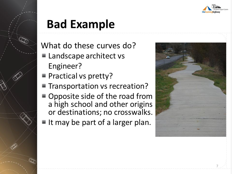 Bad Example What do these curves do? Landscape architect vs Engineer? Practical vs pretty? Transportation vs recreation? Opposite side of the road fro