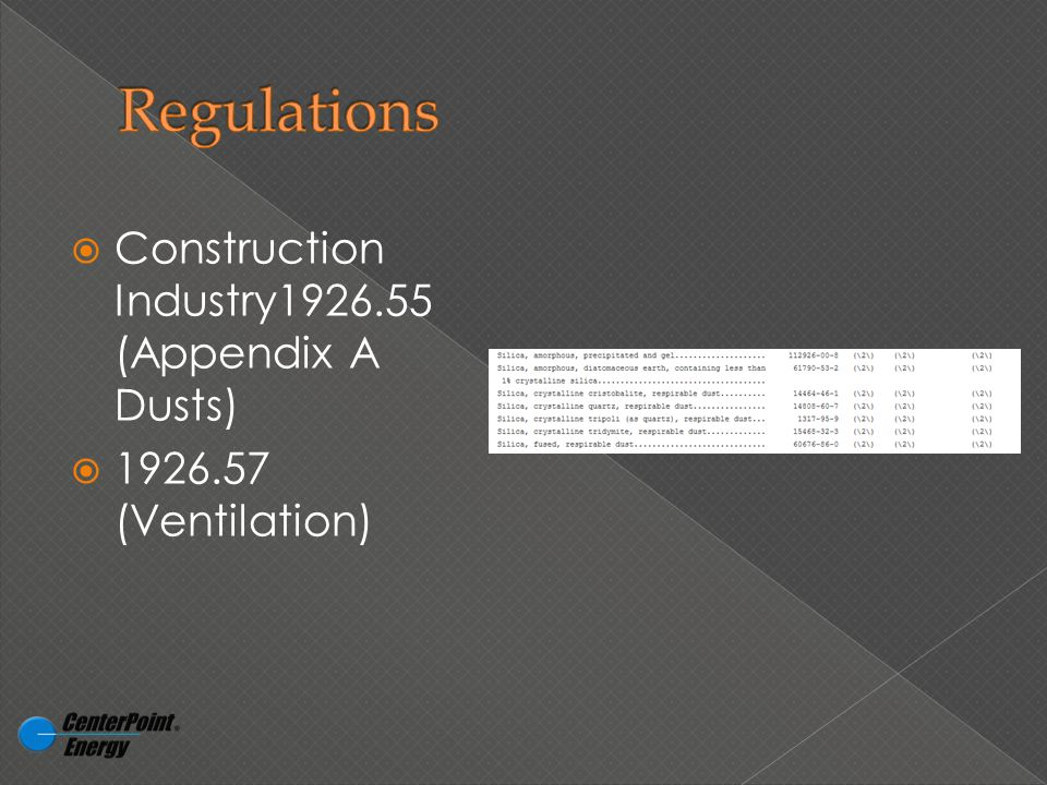  Construction Industry1926.55 (Appendix A Dusts)  1926.57 (Ventilation)