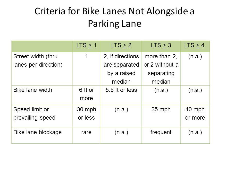Criteria for Bike Lanes Not Alongside a Parking Lane LTS > 1LTS > 2LTS > 3 LTS > 4 Street width (thru lanes per direction) 1 2, if directions are sepa