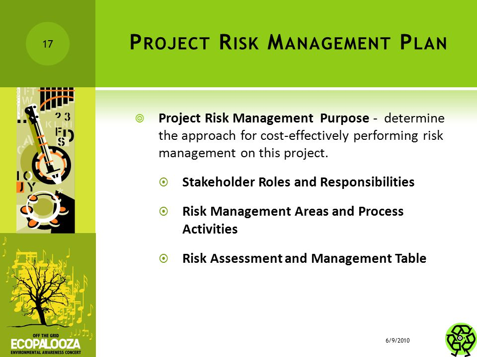P ROJECT R ISK M ANAGEMENT P LAN  Project Risk Management Purpose - determine the approach for cost-effectively performing risk management on this pr