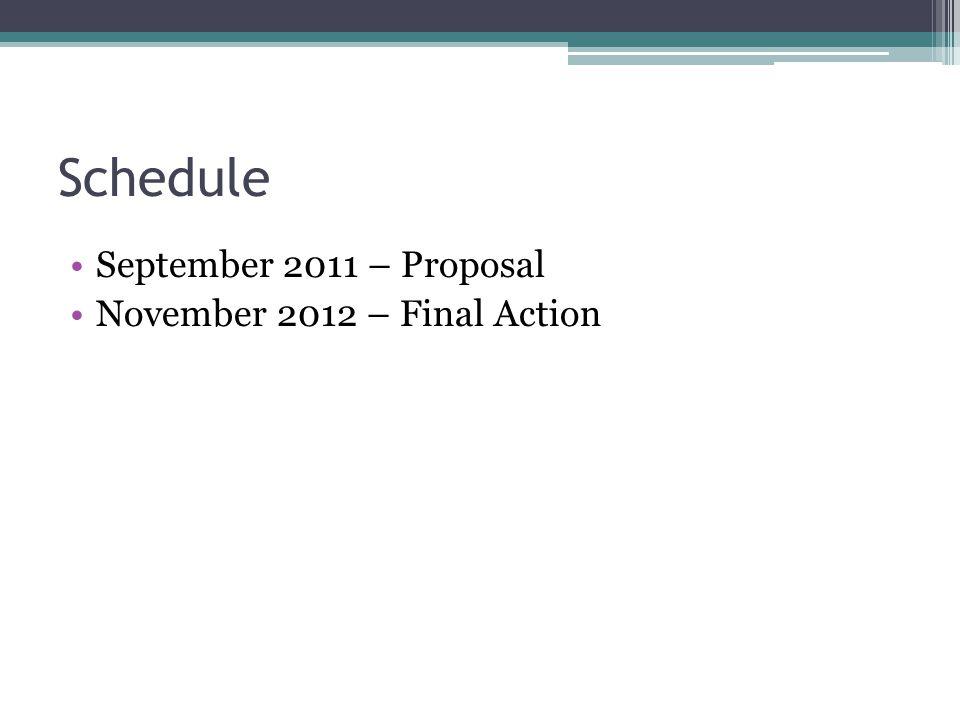 Schedule September 2011 – Proposal November 2012 – Final Action