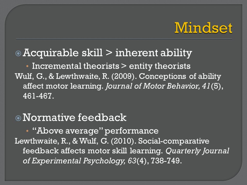  Acquirable skill > inherent ability Incremental theorists > entity theorists Wulf, G., & Lewthwaite, R.