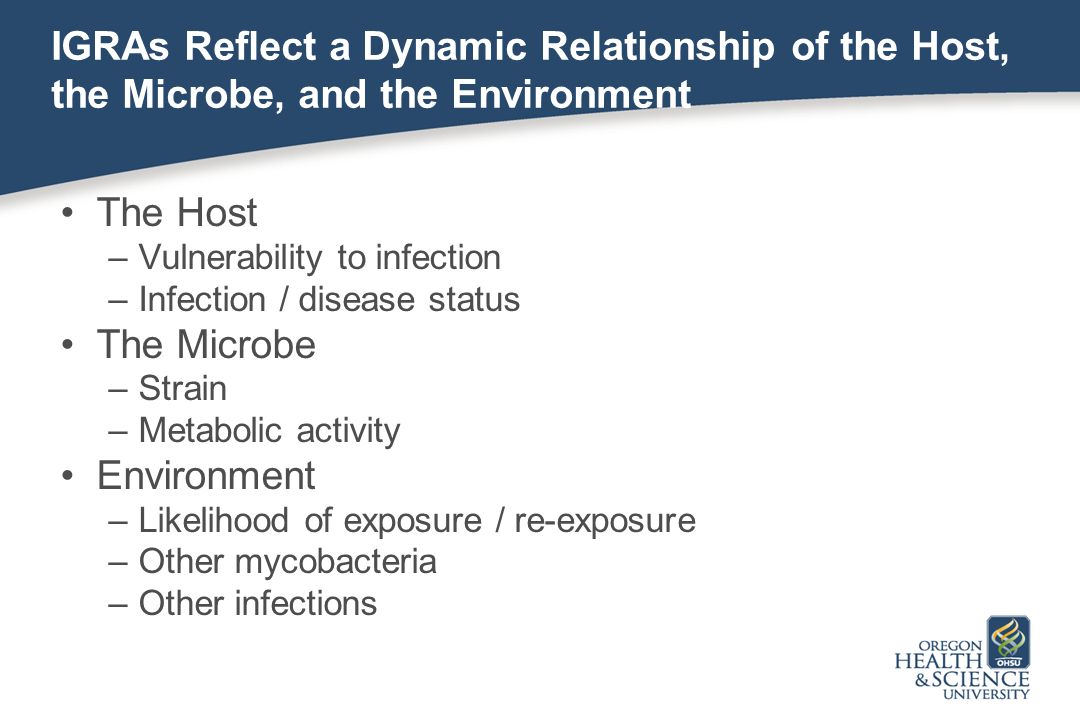 IGRAs Reflect a Dynamic Relationship of the Host, the Microbe, and the Environment The Host –Vulnerability to infection –Infection / disease status The Microbe –Strain –Metabolic activity Environment –Likelihood of exposure / re-exposure –Other mycobacteria –Other infections