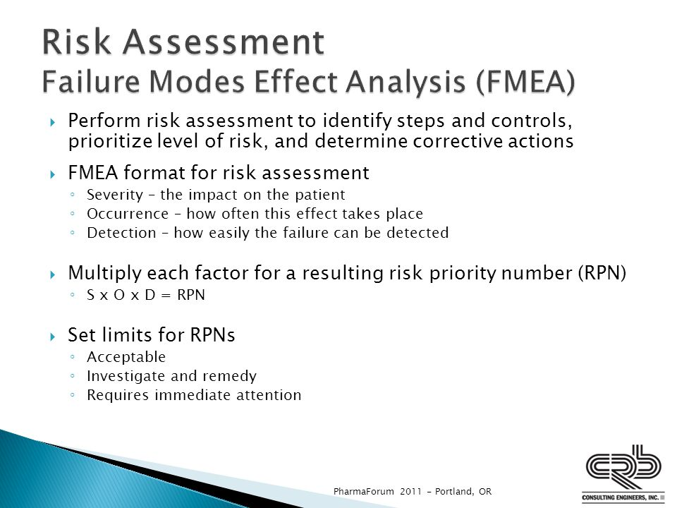  Perform risk assessment to identify steps and controls, prioritize level of risk, and determine corrective actions  FMEA format for risk assessment