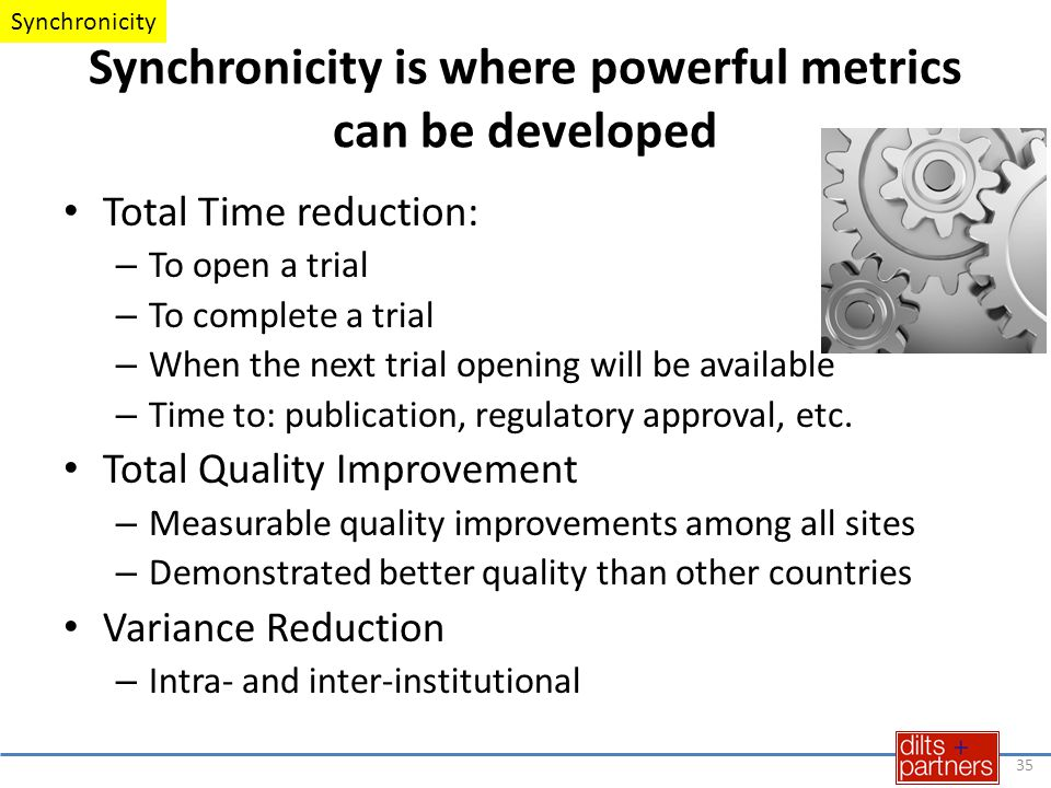 Synchronicity is where powerful metrics can be developed Total Time reduction: – To open a trial – To complete a trial – When the next trial opening will be available – Time to: publication, regulatory approval, etc.