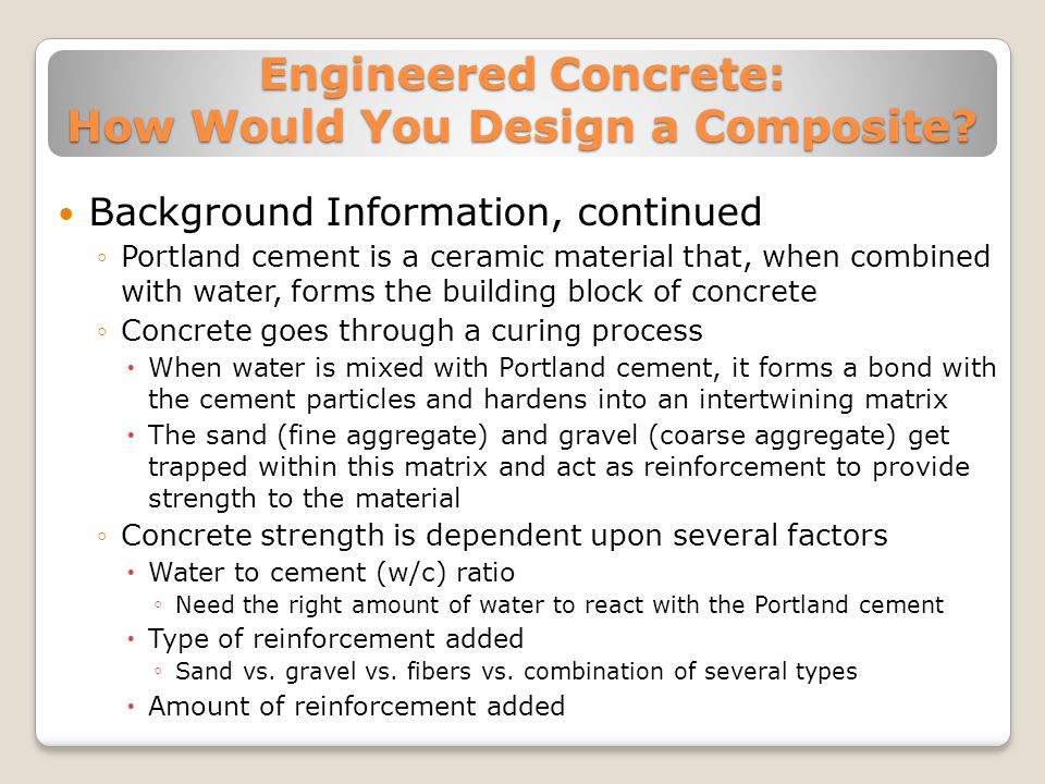 Engineered Concrete: How Would You Design a Composite.