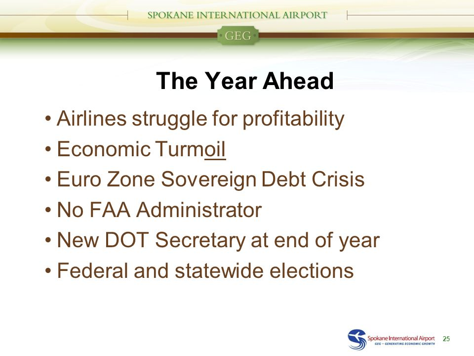 The Year Ahead Airlines struggle for profitability Economic Turmoil Euro Zone Sovereign Debt Crisis No FAA Administrator New DOT Secretary at end of year Federal and statewide elections 25