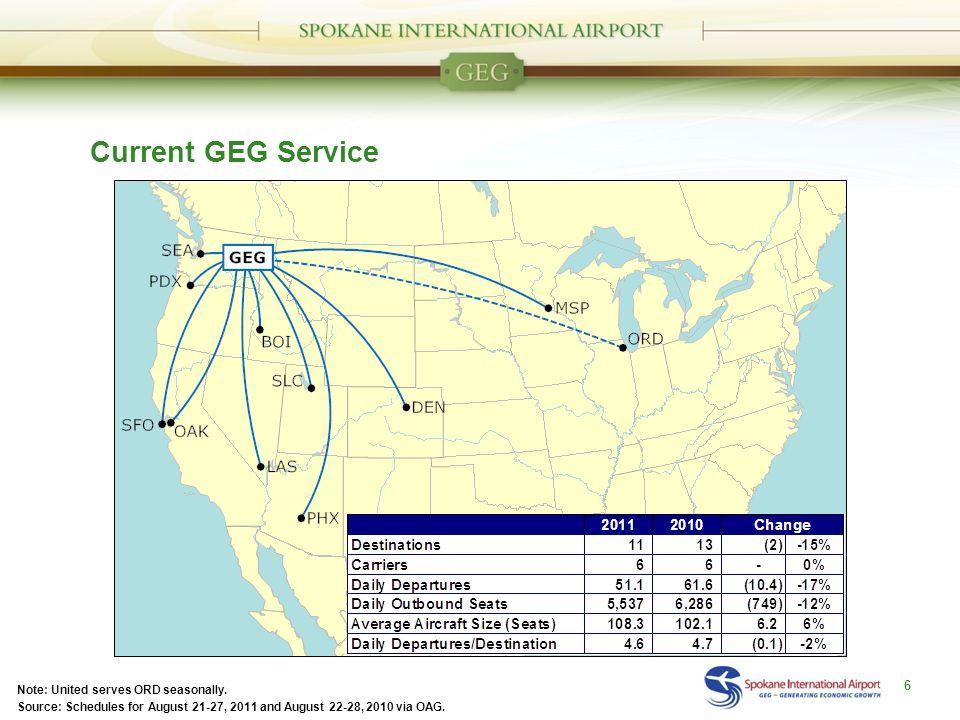 Current GEG Service 6 Note: United serves ORD seasonally.
