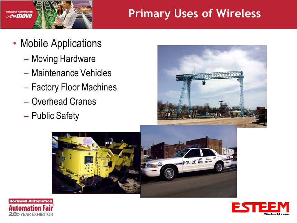 Primary Uses of Wireless Inaccessible Areas –Difficult or Too Costly to Run Cable –Across waterways –Communication across roadways –Airfield lighting