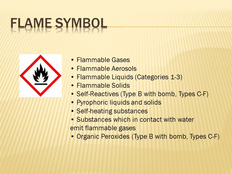 Flammable Gases Flammable Aerosols Flammable Liquids (Categories 1-3) Flammable Solids Self-Reactives (Type B with bomb, Types C-F) Pyrophoric liquids and solids Self-heating substances Substances which in contact with water emit flammable gases Organic Peroxides (Type B with bomb, Types C-F)