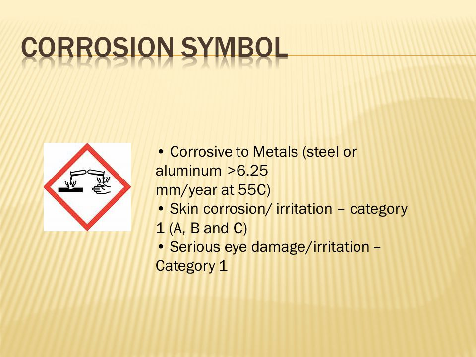 Corrosive to Metals (steel or aluminum >6.25 mm/year at 55C) Skin corrosion/ irritation – category 1 (A, B and C) Serious eye damage/irritation – Category 1