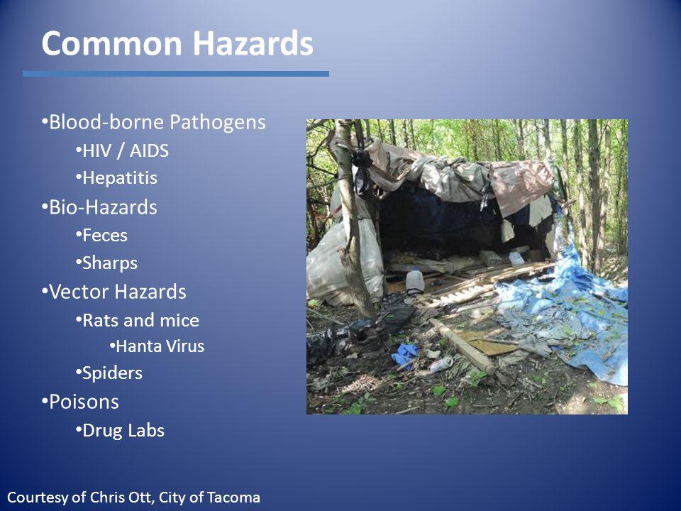 Common Hazards Blood-borne Pathogens HIV / AIDS Hepatitis Bio-Hazards Feces Sharps Vector Hazards Rats and mice Hanta Virus Spiders Poisons Drug Labs Courtesy of Chris Ott, City of Tacoma