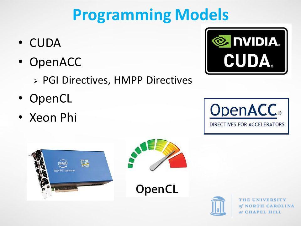 CUDA OpenACC  PGI Directives, HMPP Directives OpenCL Xeon Phi Programming Models