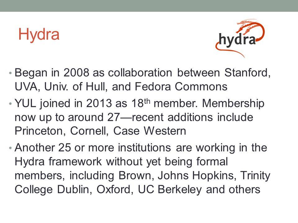 Hydra Began in 2008 as collaboration between Stanford, UVA, Univ.