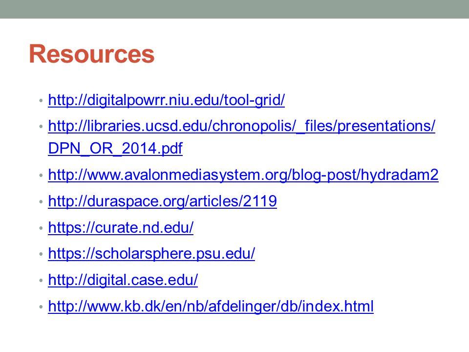 Resources http://digitalpowrr.niu.edu/tool-grid/ http://libraries.ucsd.edu/chronopolis/_files/presentations/ DPN_OR_2014.pdf http://libraries.ucsd.edu/chronopolis/_files/presentations/ DPN_OR_2014.pdf http://www.avalonmediasystem.org/blog-post/hydradam2 http://duraspace.org/articles/2119 https://curate.nd.edu/ https://scholarsphere.psu.edu/ http://digital.case.edu/ http://www.kb.dk/en/nb/afdelinger/db/index.html