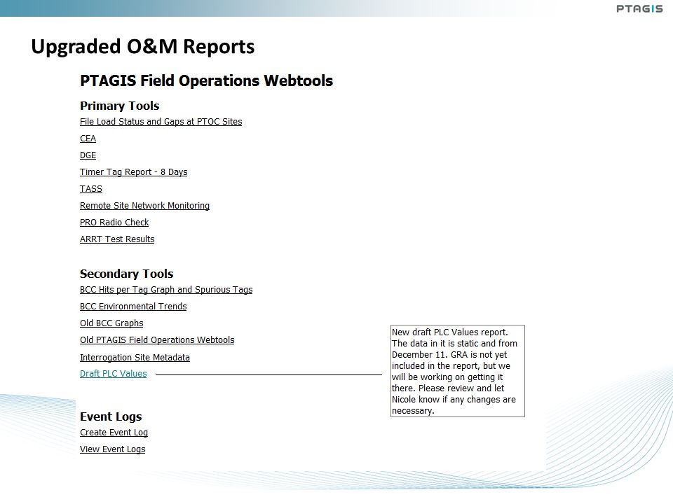 Upgraded O&M Reports
