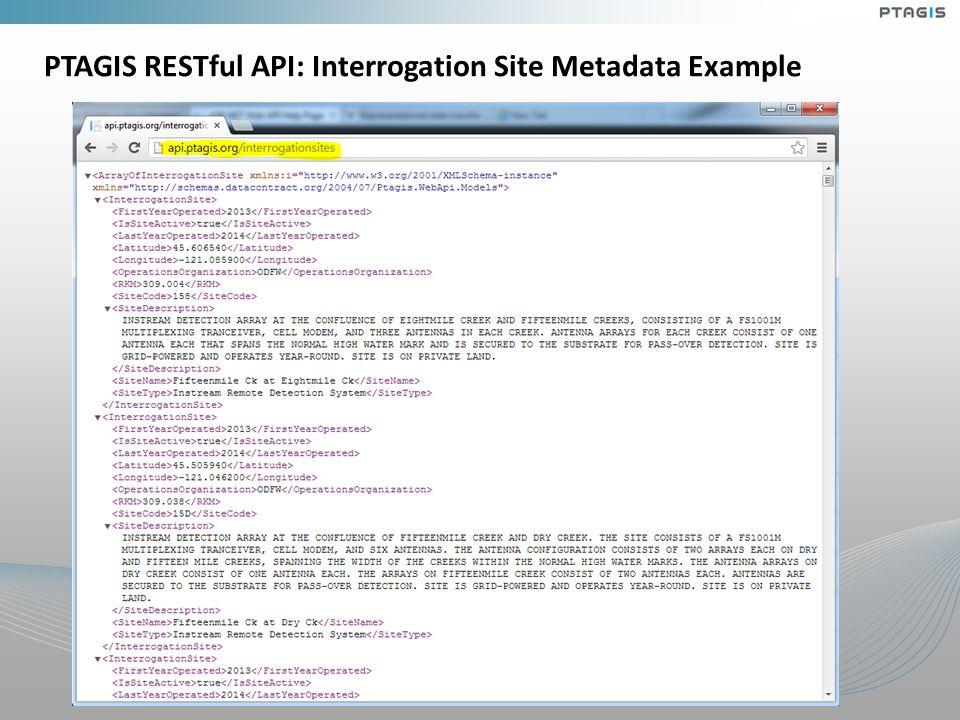 PTAGIS RESTful API: Interrogation Site Metadata Example