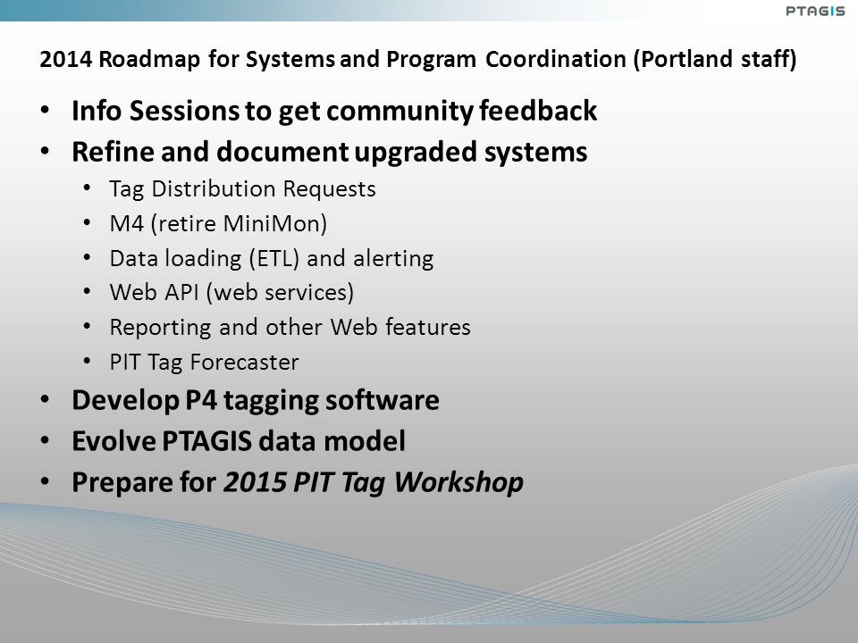 2014 Roadmap for Systems and Program Coordination (Portland staff) Info Sessions to get community feedback Refine and document upgraded systems Tag Di