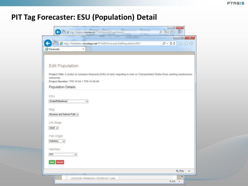 PIT Tag Forecaster: ESU (Population) Detail