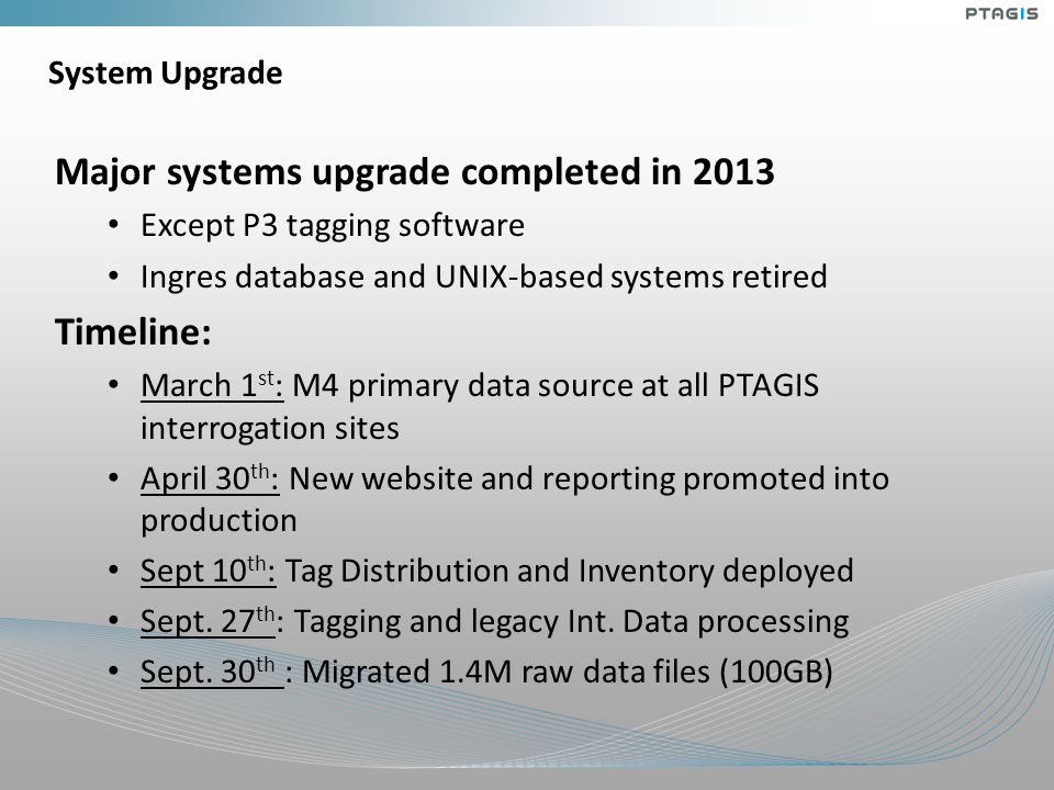 System Upgrade Major systems upgrade completed in 2013 Except P3 tagging software Ingres database and UNIX-based systems retired Timeline: March 1 st : M4 primary data source at all PTAGIS interrogation sites April 30 th : New website and reporting promoted into production Sept 10 th : Tag Distribution and Inventory deployed Sept.