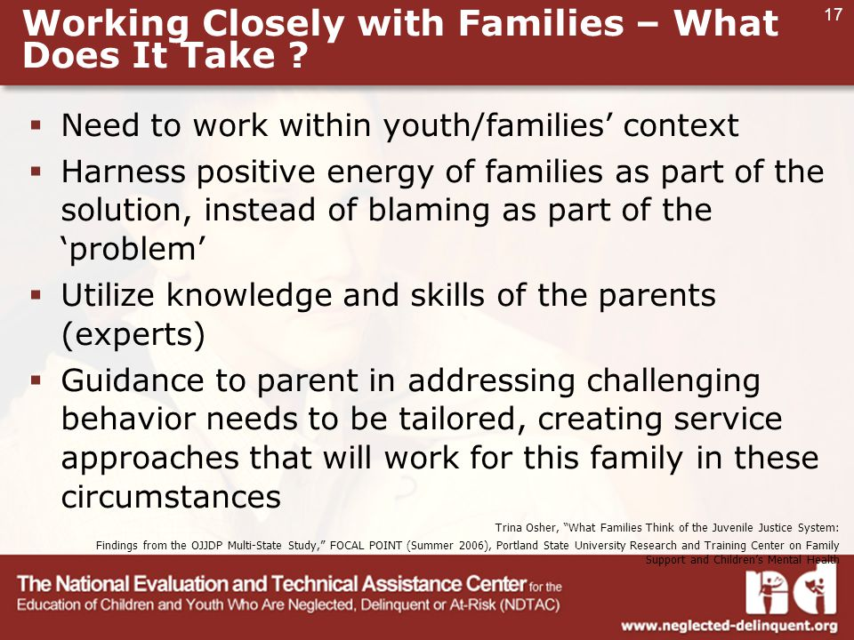 17 Working Closely with Families – What Does It Take .