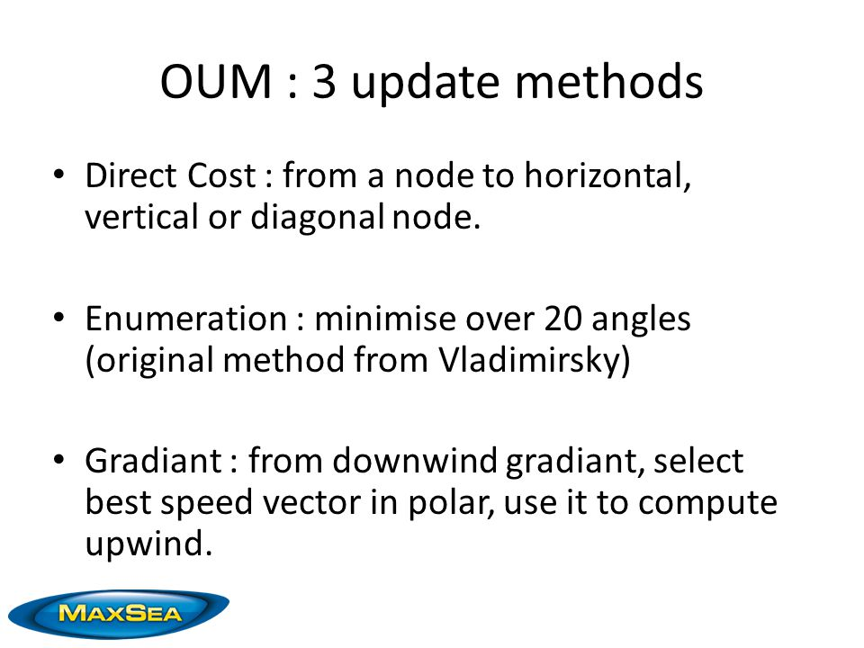 OUM : 3 update methods Direct Cost : from a node to horizontal, vertical or diagonal node.
