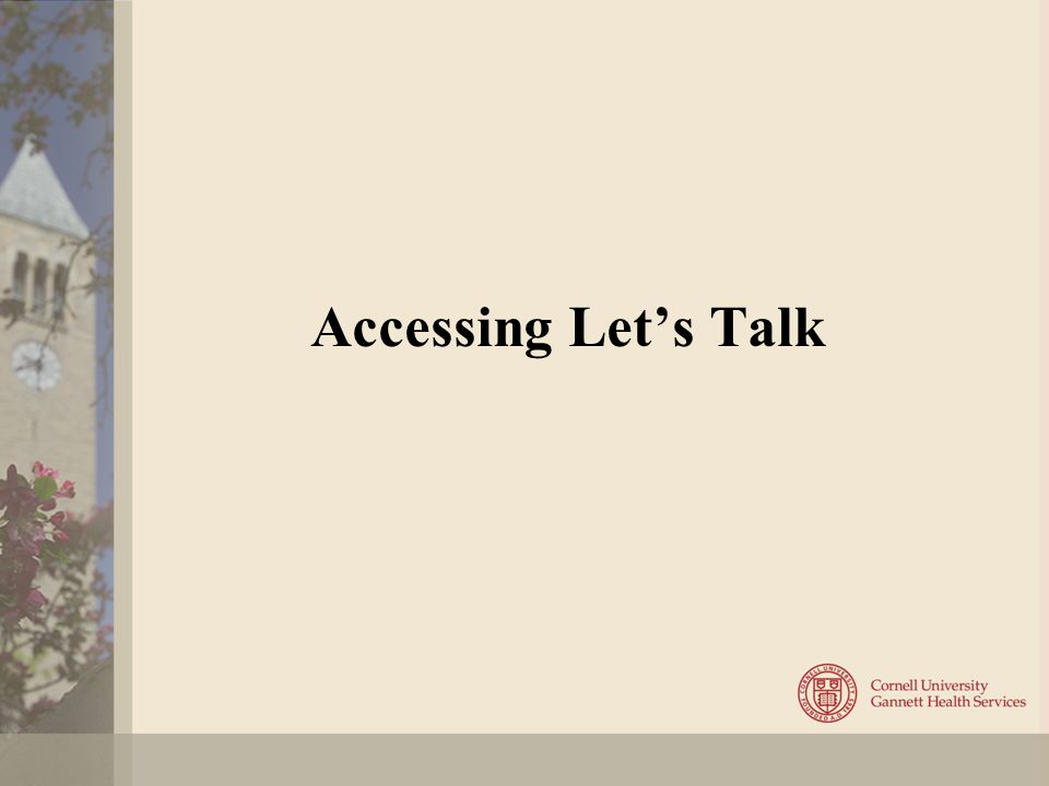 Accessing Let's Talk