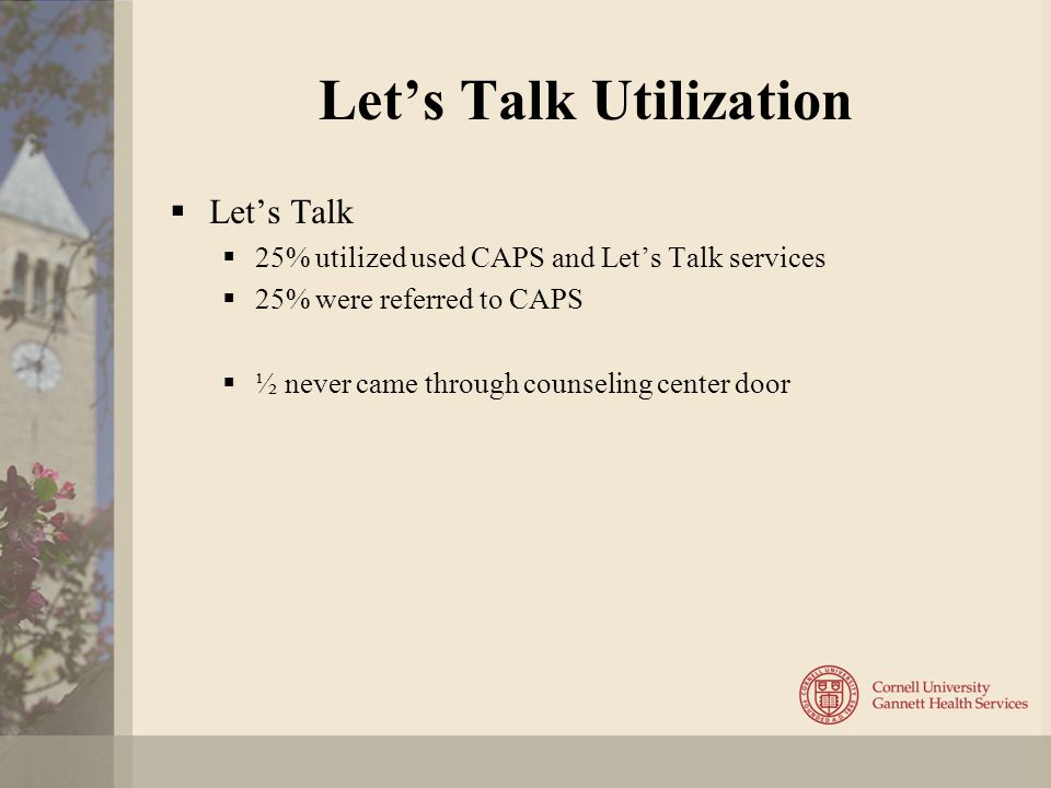 Let's Talk Utilization  Let's Talk  25% utilized used CAPS and Let's Talk services  25% were referred to CAPS  ½ never came through counseling center door