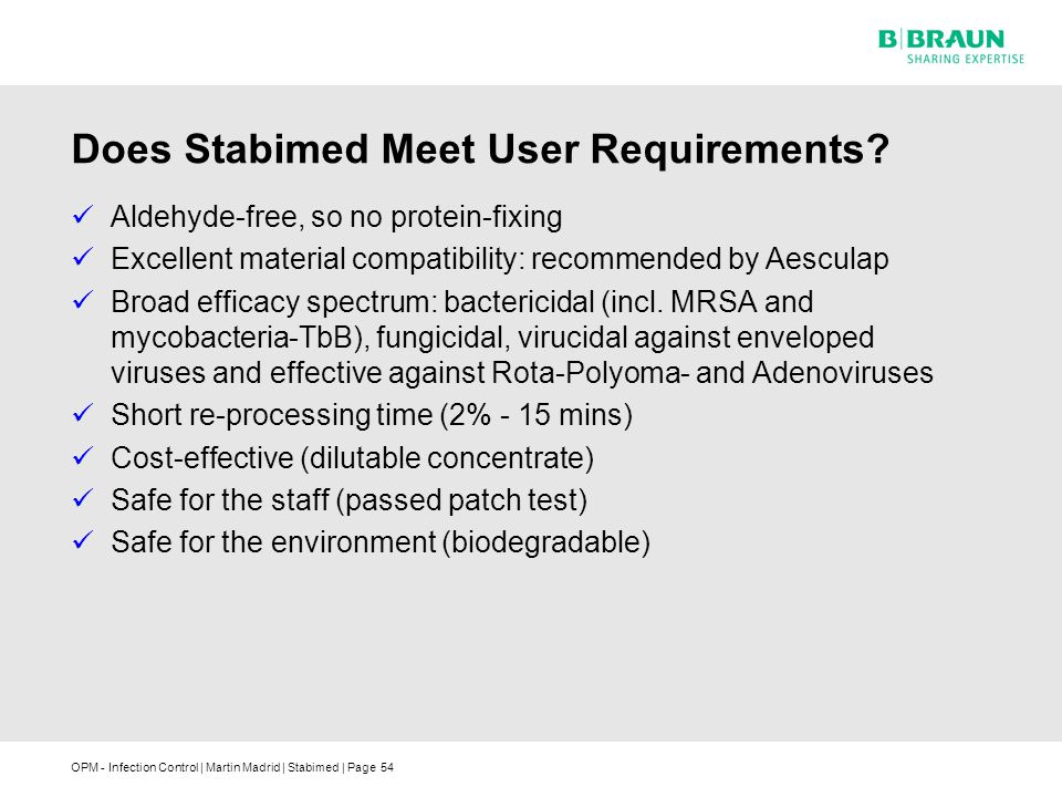 OPM - Infection Control | Martin Madrid | Stabimed | Page Does Stabimed Meet User Requirements.