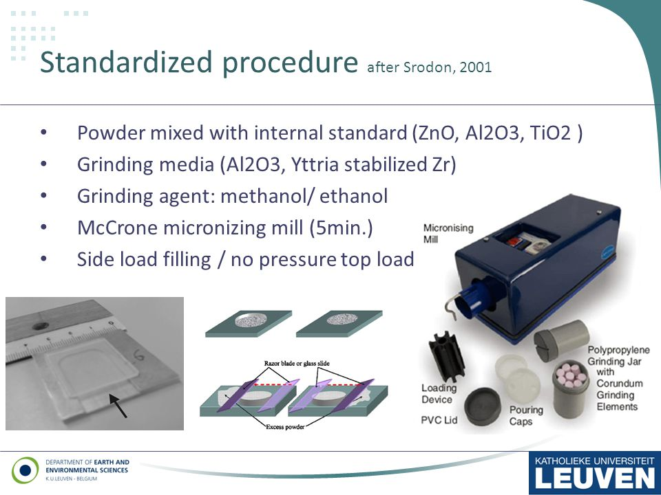 Standardized procedure after Srodon, 2001 Powder mixed with internal standard (ZnO, Al2O3, TiO2 ) Grinding media (Al2O3, Yttria stabilized Zr) Grinding agent: methanol/ ethanol McCrone micronizing mill (5min.) Side load filling / no pressure top load 13