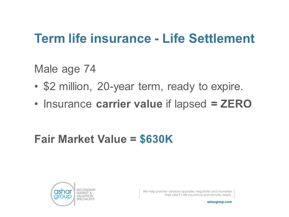 Term life insurance - Life Settlement Male age 74 $2 million, 20-year term, ready to expire.