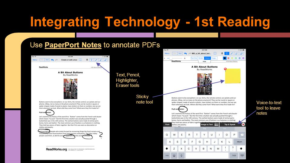 Use PaperPort Notes to annotate PDFs Integrating Technology - 1st Reading Text, Pencil, Highlighter, Eraser tools Sticky note tool Voice-to-text tool
