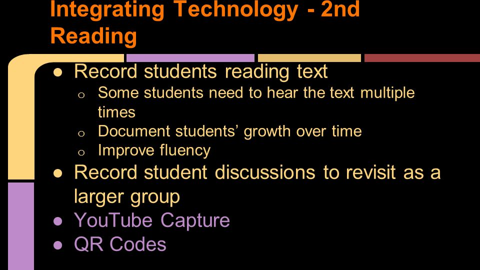 ●Record students reading text o Some students need to hear the text multiple times o Document students' growth over time o Improve fluency ●Record student discussions to revisit as a larger group ●YouTube Capture ●QR Codes Integrating Technology - 2nd Reading